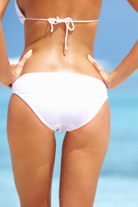 women in a bikini from behind