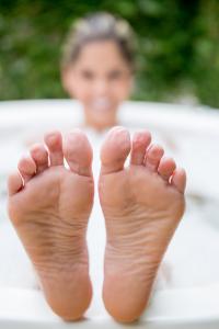 woman soaking in a bath